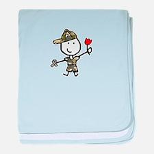 Boy & Silver Ribbon baby blanket