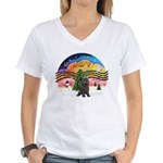 XMusic2-Brindle Cairn Women's V-Neck T-Shirt