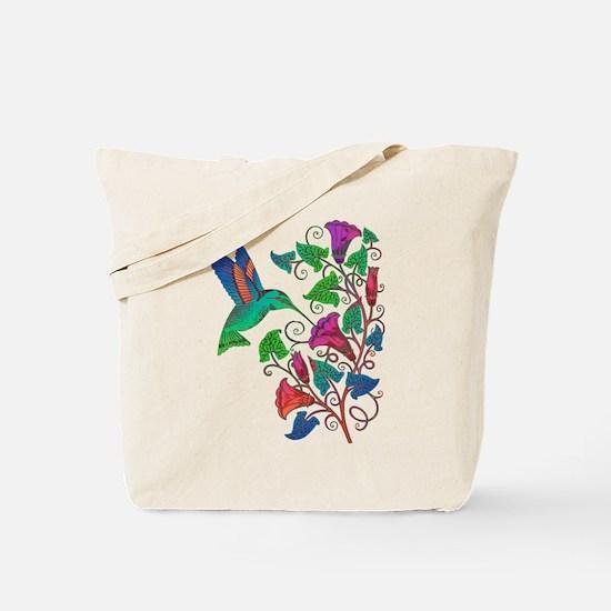 Rainbow Hummingbird on Trumpet Vine Tote Bag