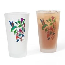 Rainbow Hummingbird on Trumpet Vine Drinking Glass