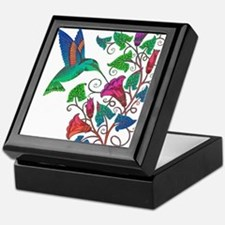 Rainbow Hummingbird on Trumpet Vine Keepsake Box