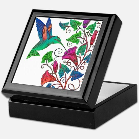 Rainbow Hummingbird on Trumpet Vine Keepsake Box