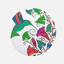 """Rainbow Hummingbird on Trumpet Vine 3.5"""" Button"""
