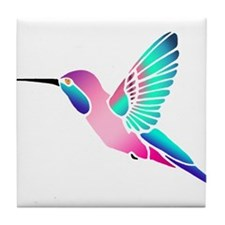 Raspberry Mint Sorbet Hummingbird Tile Coaster