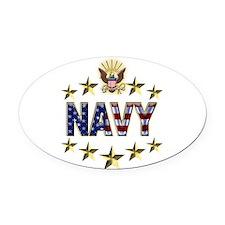 USN Flag Stars Eagle Oval Car Magnet