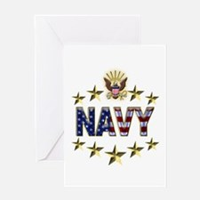 USN Flag Stars Eagle Greeting Card