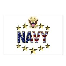 USN Flag Stars Eagle Postcards (Package of 8)