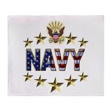 USN Flag Stars Eagle Throw Blanket