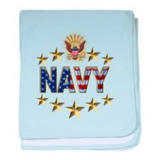 USN Flag Stars Eagle baby blanket