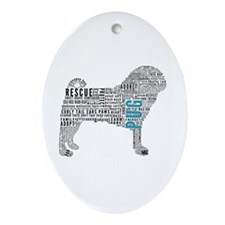 Pug Typography Ornament (Oval)