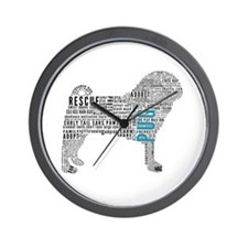 Pug Typography Wall Clock