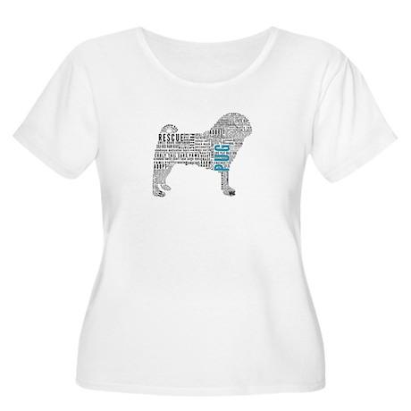 Pug Typography Women's Plus Size Scoop Neck T-Shir