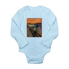 the scream by edvun munch Long Sleeve Infant Bodys