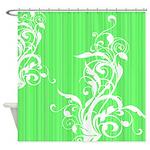 Pretty White Floral Design Shower Curtain