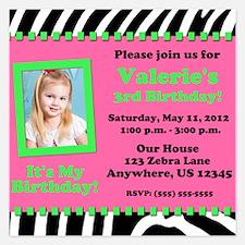Zebra Pink Green Birthday Invitation 5.25 x 5.25 F