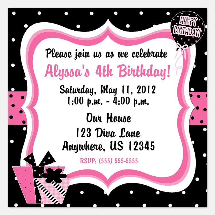 Black and Pink Girls Birthday Invitation 5.25 x 5.