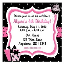 Black and Pink Girls Birthday Invitation Invitations
