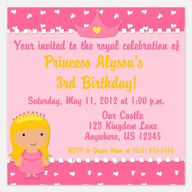 Princess Birthday Invitation 5.25 x 5.25 Flat Card