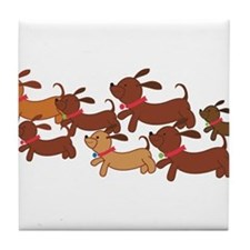 Running Weiner Dogs.png Tile Coaster