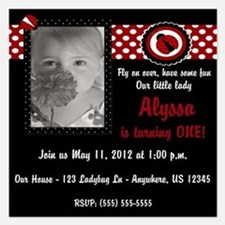 Ladybug Birthday Invitation 5.25 x 5.25 Flat Cards