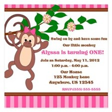 Monkey Pink Girl Invitation Invitations