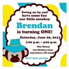 Boys Monkey Invitation Invitations
