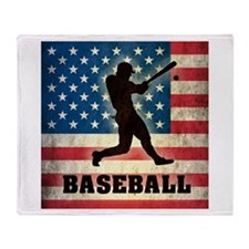 Grunge USA Baseball Throw Blanket