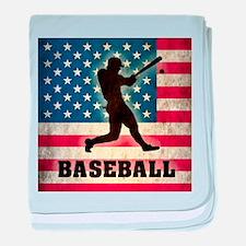 Grunge USA Baseball baby blanket