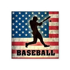 "Grunge USA Baseball Square Sticker 3"" x 3"""