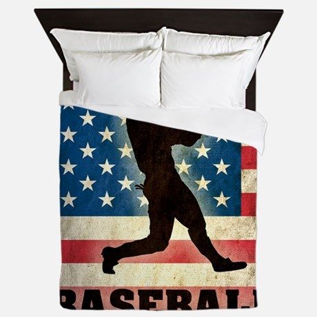 Grunge Usa Baseball Queen Duvet