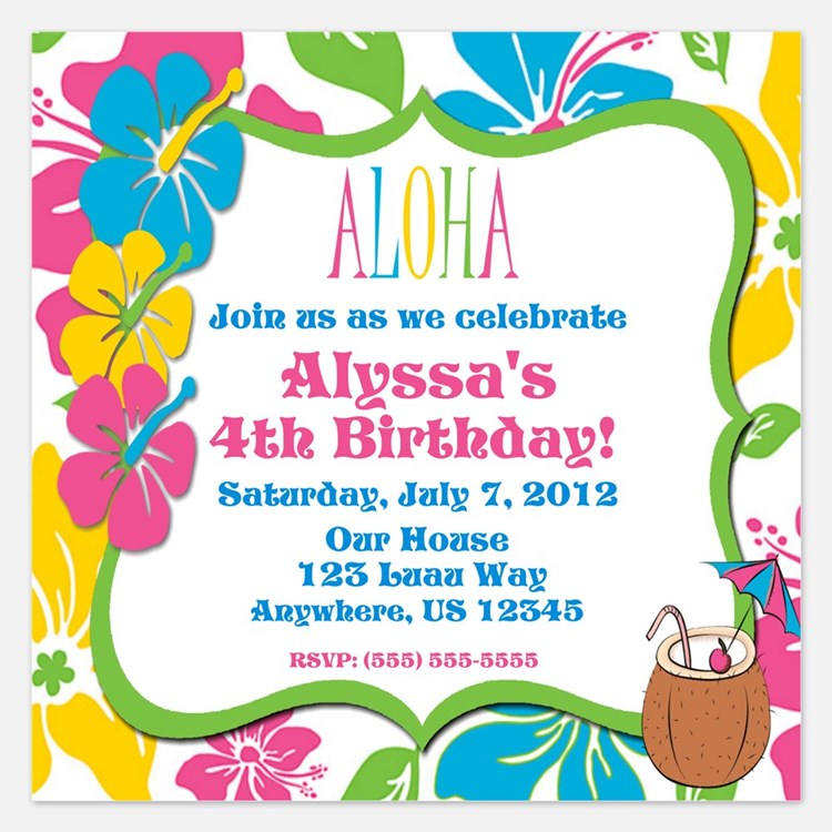 Tropical Hibiscus Invitation 5.25 x 5.25 Flat Card