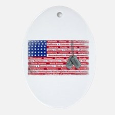 Thank You Soldier Dog Tags Ornament (Oval)