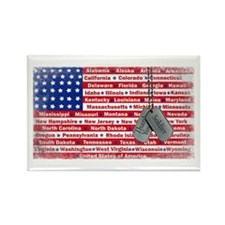 Thank You Soldier Dog Tags Rectangle Magnet (100 p
