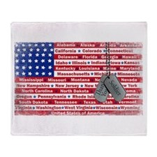 Thank You Soldier Dog Tags Throw Blanket