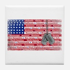Thank You Soldier Dog Tags Tile Coaster