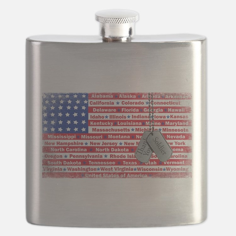 Thank You Soldier Dog Tags Flask