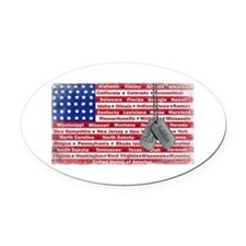 Thank You Soldier Dog Tags Oval Car Magnet