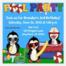 Pool Party Penguins 5.25 x 5.25 Flat Cards