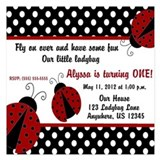 Ladybug first birthday 5.25 x 5.25 Flat Cards