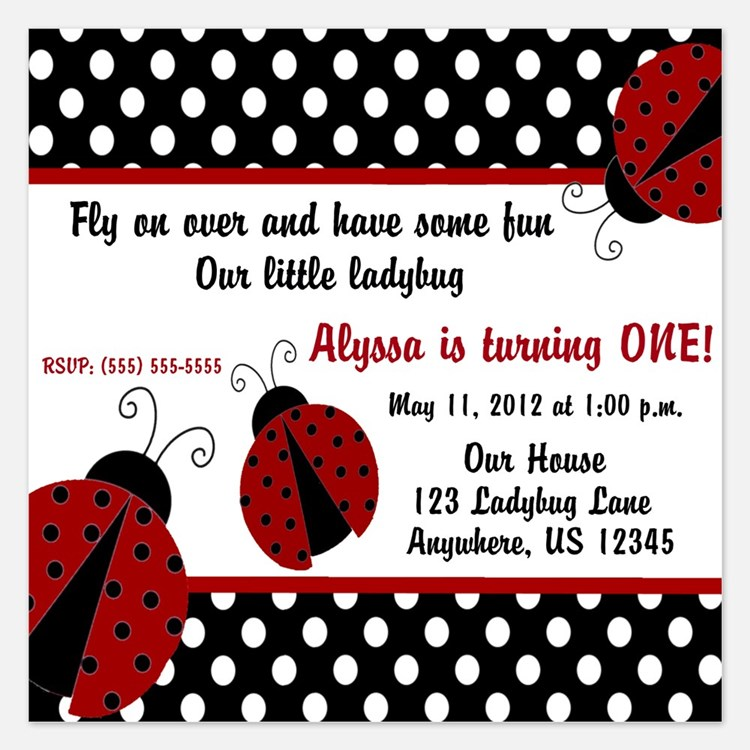 invitations for ladybug first birthday  ladybug first birthday, Birthday invitations