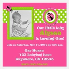 Pink Green Ladybug Girls Birthday Invitation 5.25