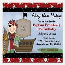 Boy Pirate Birthday Invitation 5.25 x 5.25 Flat Ca