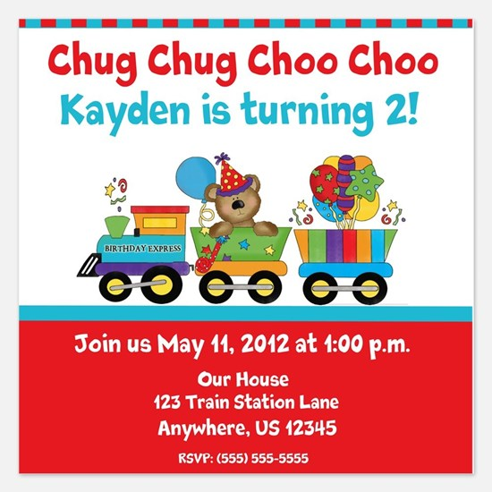 Birthday Bear Train Invitation 5.25 x 5.25 Flat Ca