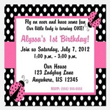 Ladybug Pink Invitation Invitations