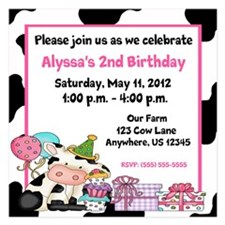 Girls Birthday Cow Invitation 5.25 x 5.25 Flat Car
