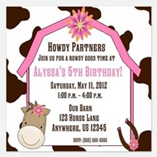 Cow Print and Horse Birthday Invitation Invitations