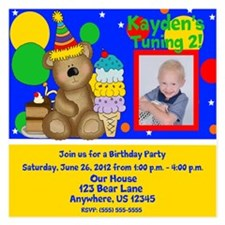 Birthday Bear Kids Invitation 5.25 x 5.25 Flat Car