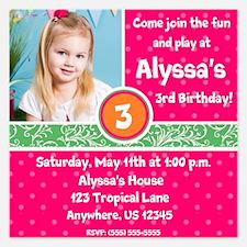 Tropical Fun Birthday Invitation 5.25 x 5.25 Flat