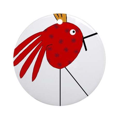 Crazy Red Bird with Stars and Gold Head Piece Orna