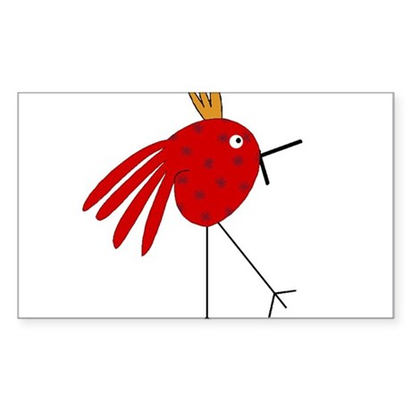 Crazy Red Bird with Stars and Gold Head Piece Stic